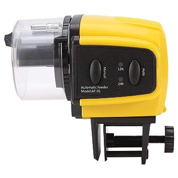 Garsent Alimentador automático de peces, alimentador eléctrico de plástico para peces, acuario, pecera