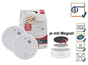 Elro Juego de 2 detectores de humo (Incluye batería de 5 años Incluye tablero magnético, 85 Db, botón de prueba; rm142 F de 5J: Amazon.es: Bricolaje y ...