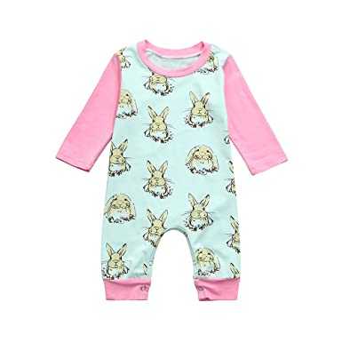 588cdda1dec9 Baby Girls Easter Romper Bunny Print Long Sleeve Bodysuit Soft Jumpsuit  Clothing Set Mix(Green