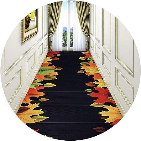 Jcy-La alfombra Pasillo para Sala Estar Escaleras Oficina Cocina,Moqueta Antideslizante Lavable A Máquina,Patrón Hoja Arce Impreso 3D (Color : Maple Leaf, Size : 1x8m): Amazon.es: Hogar