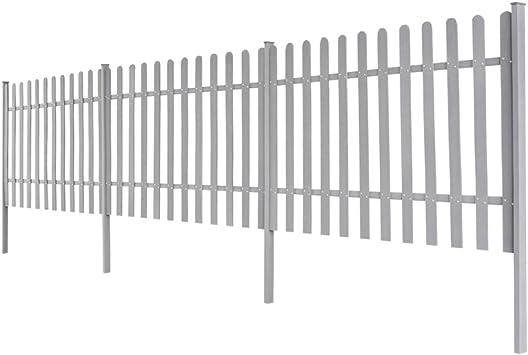 Festnight - Pack de 3 Vallas de jardín, paneles de vallado con postes redondeados en la parte superior, 200 x 60 cm, color gris: Amazon.es: Bricolaje y herramientas