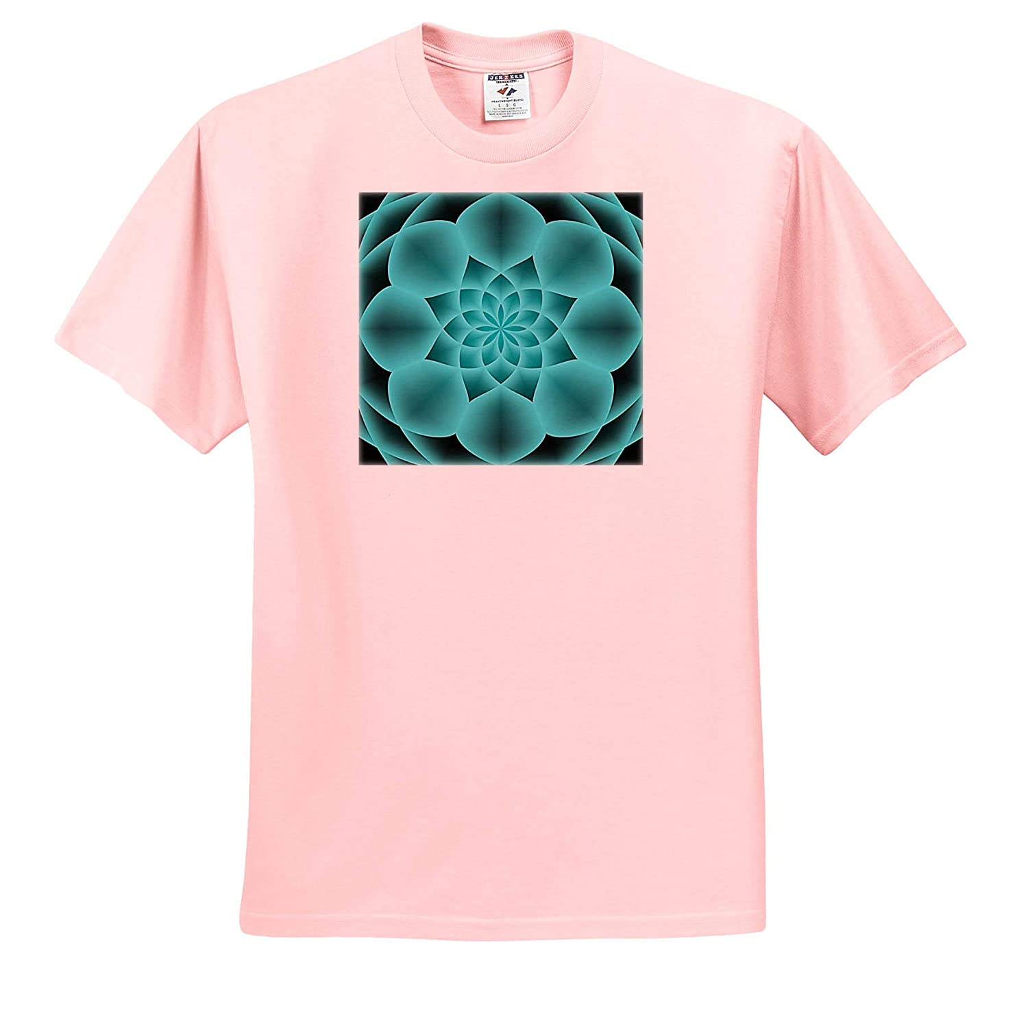 3dRose Andrea Haase Abstract Art and Design T-Shirts Symmetrical Modern Abstract Design in Shades of Turquoise