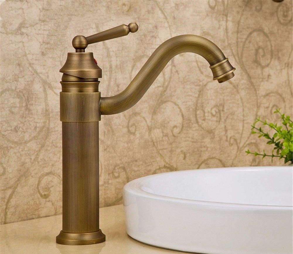 NewBorn Faucet Wasserhähne Warmes und Kaltes Wasser Größe Qualität Basin-Wide Wasser Leitungswasser Antik Kupfer Kaltes Wasser Leitungswasser Einloch Sitzbank antiken Leitungswasser
