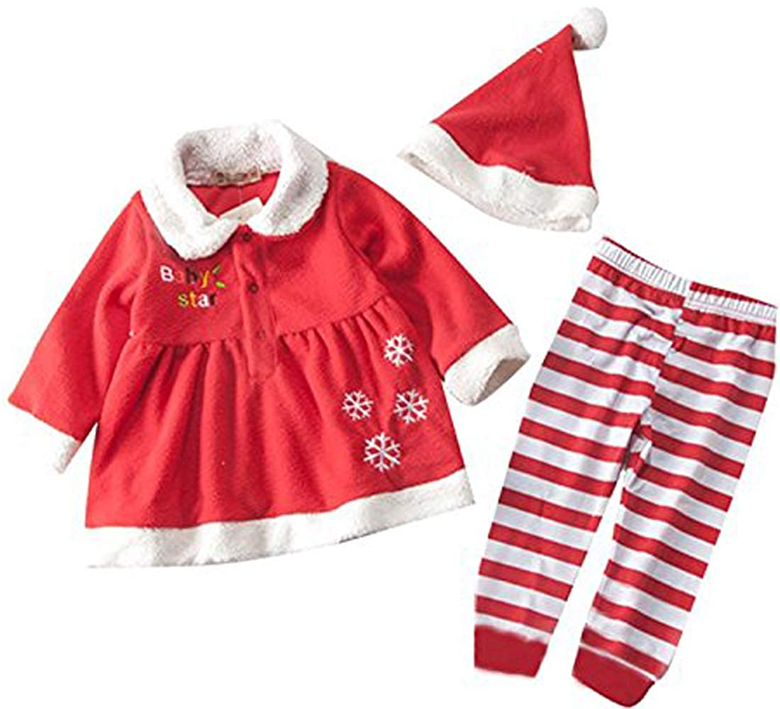 SUPEYA Baby Girls Christmas Long Sleeve Top +Stripe Pants+ Hat 3Pcs Set Outfits