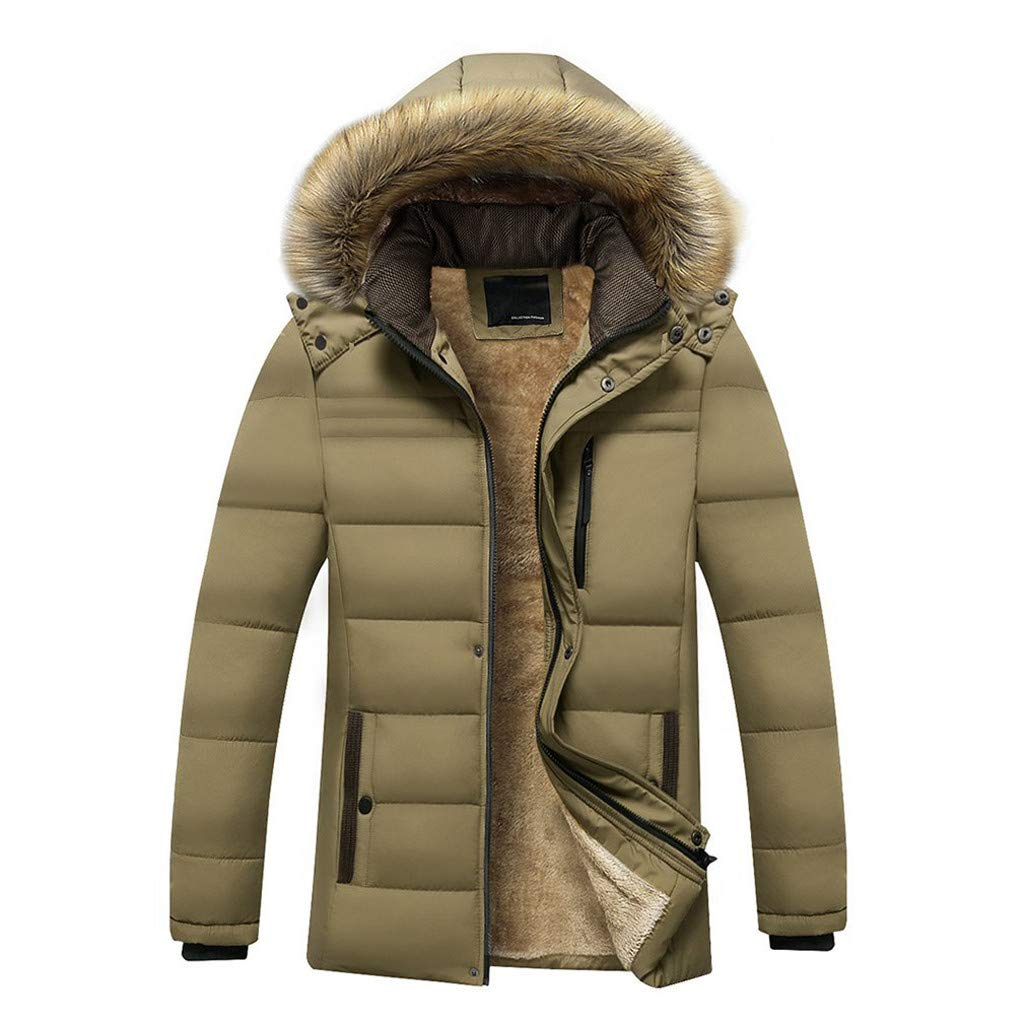 Funnygals - Mens Winter Jacket Coats with Fur Trimmed Hood, Thicken Warm Windproof Outwear Coat Parka Puffer Jackets Khaki by Funnygals - Clothing