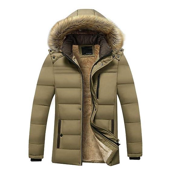 Uomo Con Zip E Cappuccio Parka eco Luccyone Addensato Caldo Cappotto Pelliccia Invernale Giacca BEq64wz7w