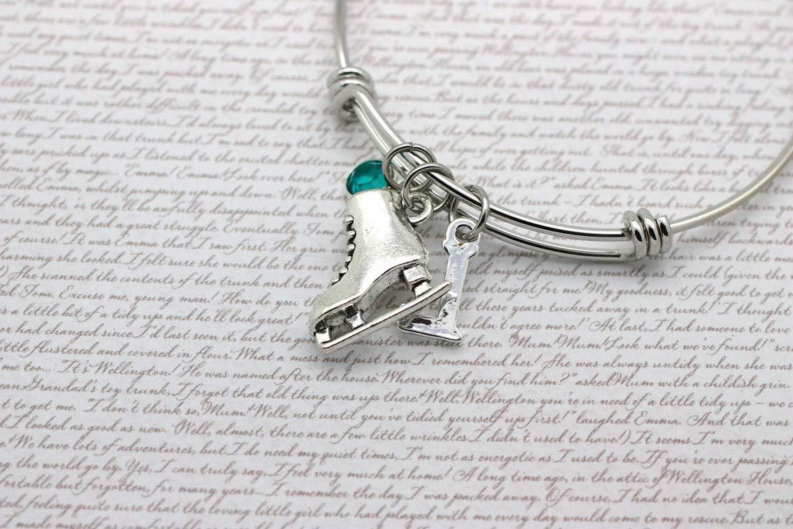 Sporting Personalised Jewellery Ice Skating Charm Bangle Ice Skates Bracelet Figure Skating Initial /& Birthstone Crystal