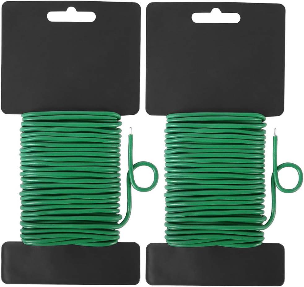 Shintop Reusable Garden Plant Twist Tie, 2PCS Heavy Duty Soft Wire Tie for Gardening, Home, Office (Green, 65.6 Feet)