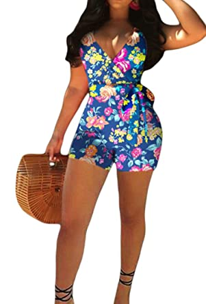c72811aaf91 X-Future Womens Fashion Floral Print Belted Open Back Club Short Romper  Jumpsuits Blue XS