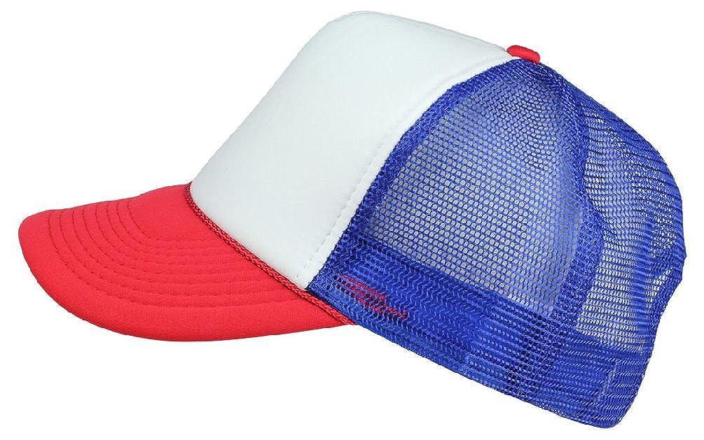 21772dde8e89f Amazon.com  New Stranger Things Red White Blue Hat Trucker Cap 80S  Adjustable Mesh Dustin  Clothing