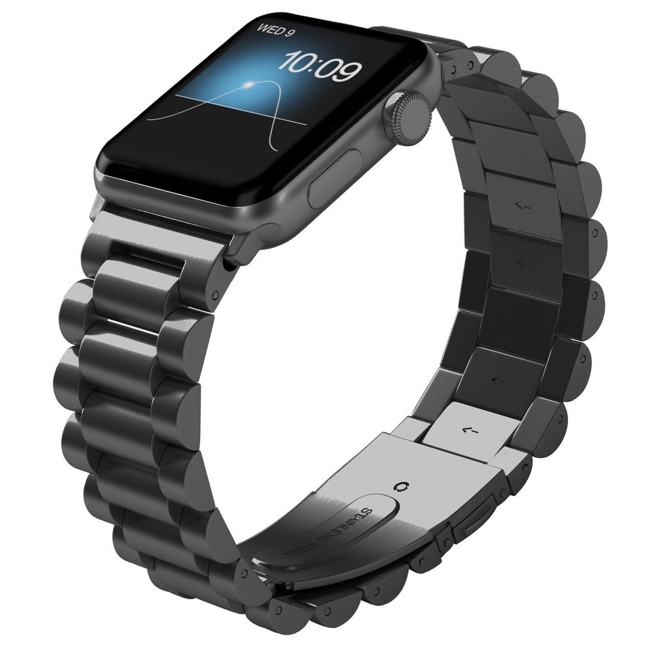 Apple Watchバンド、no1sellerプレミアムソリッドステンレススチールApple Watchバンドストラップ手首バンドユニーク研磨ビジネス交換用for Apple Watchシリーズ1、シリーズ2 B072ZTMDK1  SemiCircle-Space Gray 42mm