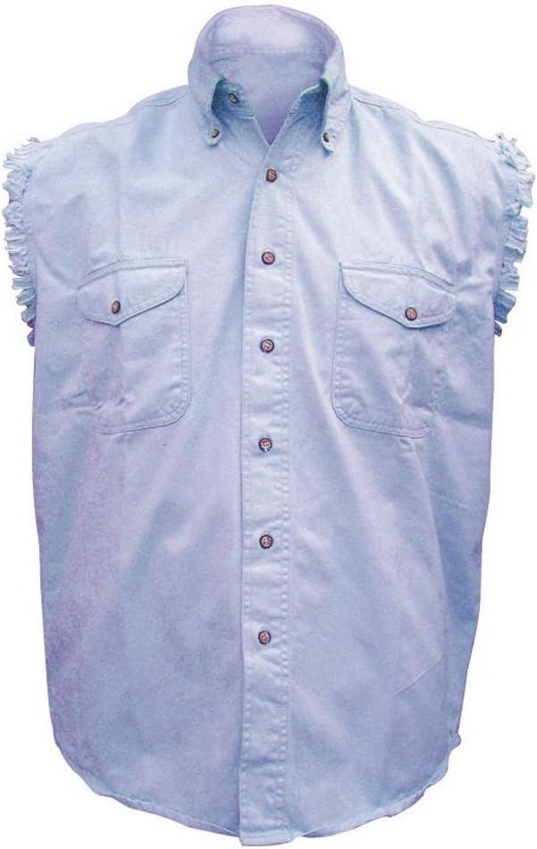 Mens AL2904 Cotton//Twill Sleeveless shirt Small Light Blue