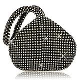 ELEOPTION Women Ladies' Evening Clutch Wedding Purse Handbag for Party Prom (Black)