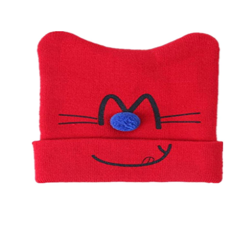 Fashion Boys Girls Toddler Cotton Warm Hat Winter Elasticity Cat Pattern Beanie Hat by PSFS