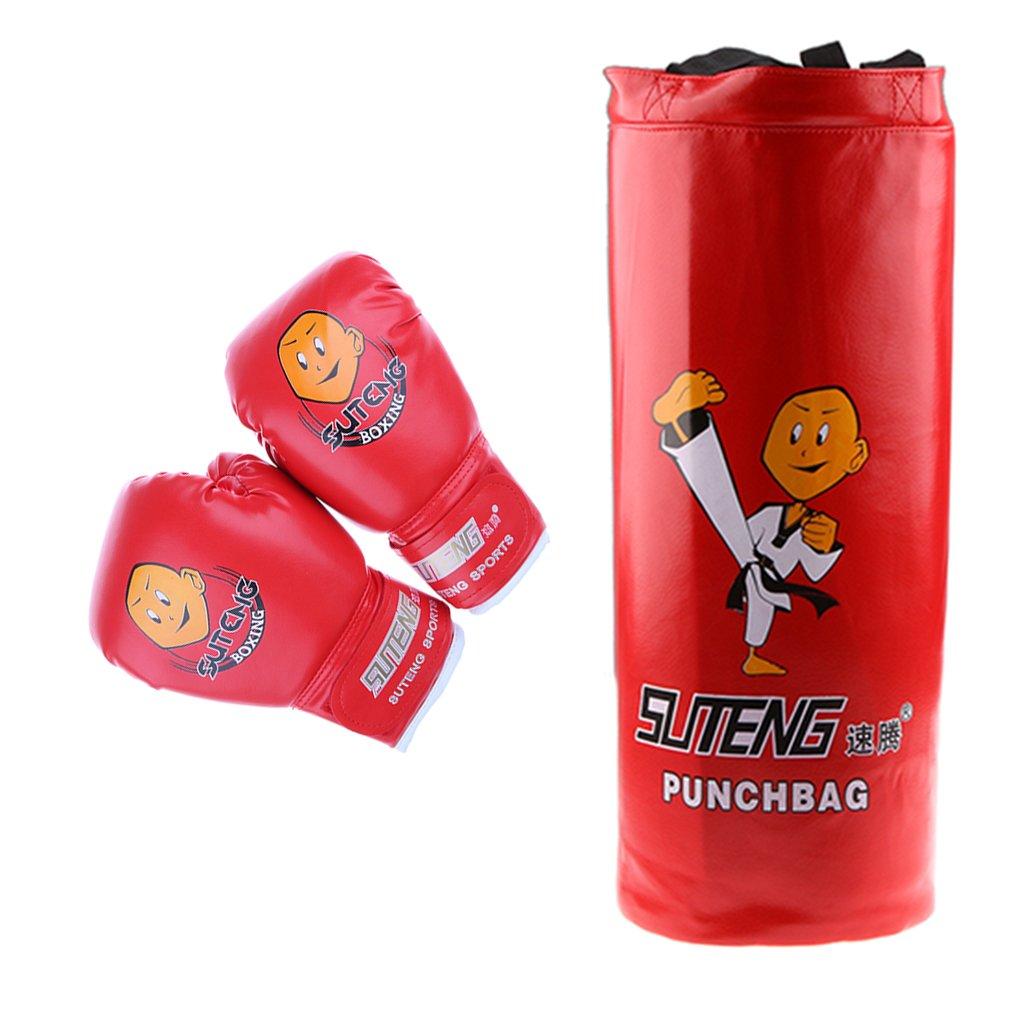 MagiDeal Children Youth Kids Boxing Kit Training Bag Set Punching Bag Kickbag Gloves Heavy Bag Bundle - Black, as described