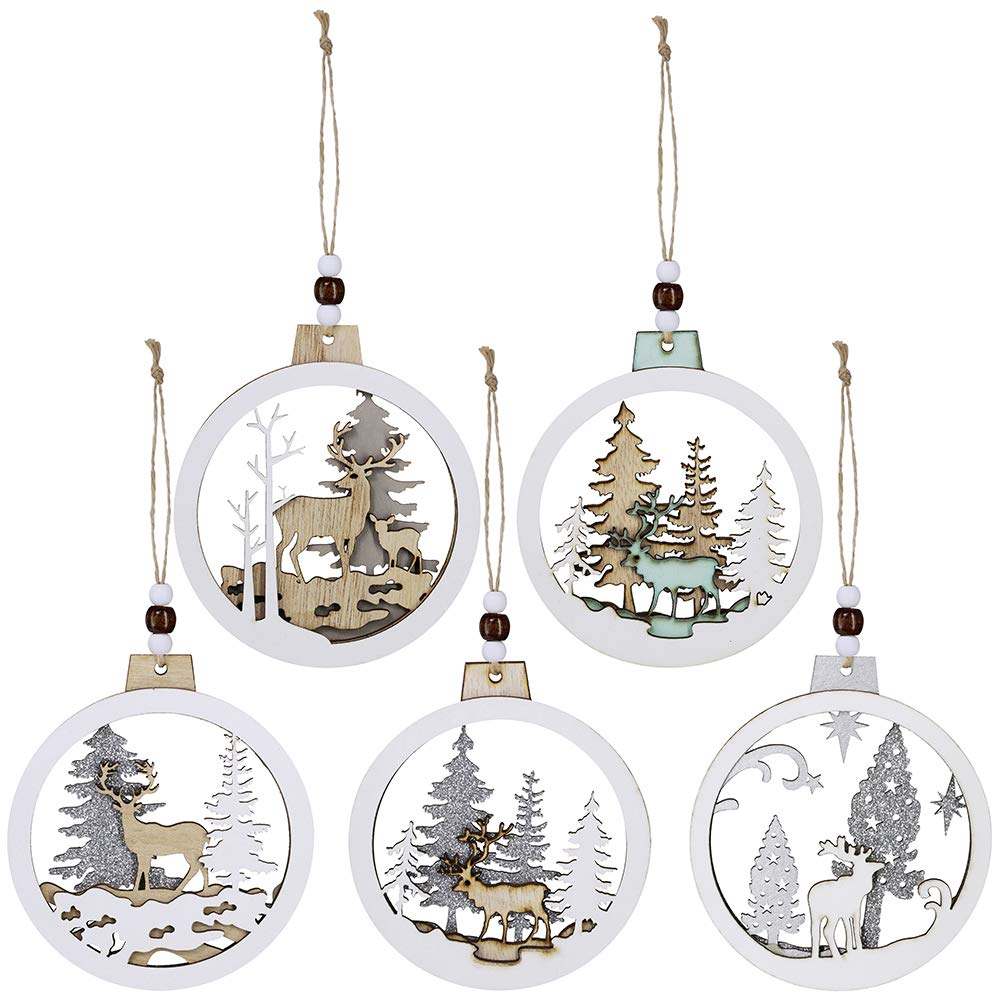 5 Pcs Christmas Hanging Wooden Ornament Hollow Fretwork Laser Cutting Wood Carving Ornaments Wood Slice Gift Tags Pendant Circle Bauble Glitter