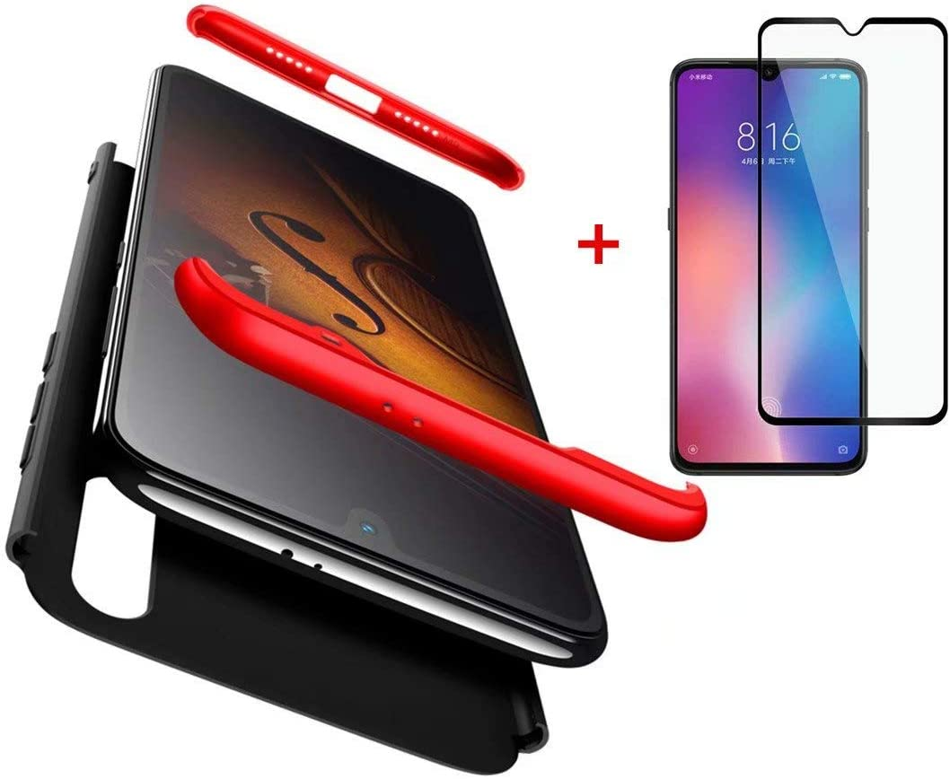 AILZH Compatibles para Funda Xiaomi Mi 9 Carcasa+[Cristal Templado] 360 Grados Caja protección de cáscara Dura Anti-Shock Caso Mate Bumper Antichoque Case Cover(Rojo Negro)