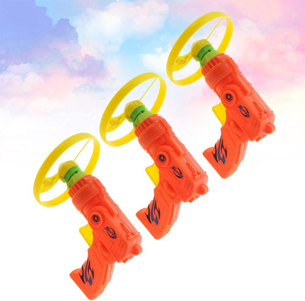 TOYANDONA 3pcs Flying Super Saucer Launcher Set Spinning Shooter Flying Disc ToysPlastic Flying Toys for Children Indoors Outdoors