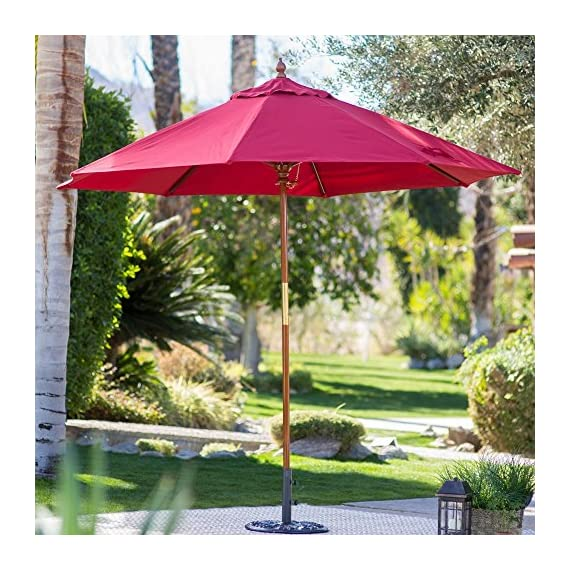 Belham Living 9 ft. Wood Commercial-Grade Sunbrella Market Umbrella - Free swatches are available! Call 888-880-4884 to order. Dimensions: 108L x 108W in. (9 ft.) Only online source for commercial grade with next day shipping - shades-parasols, patio-furniture, patio - 61rRsno43sL. SS570  -