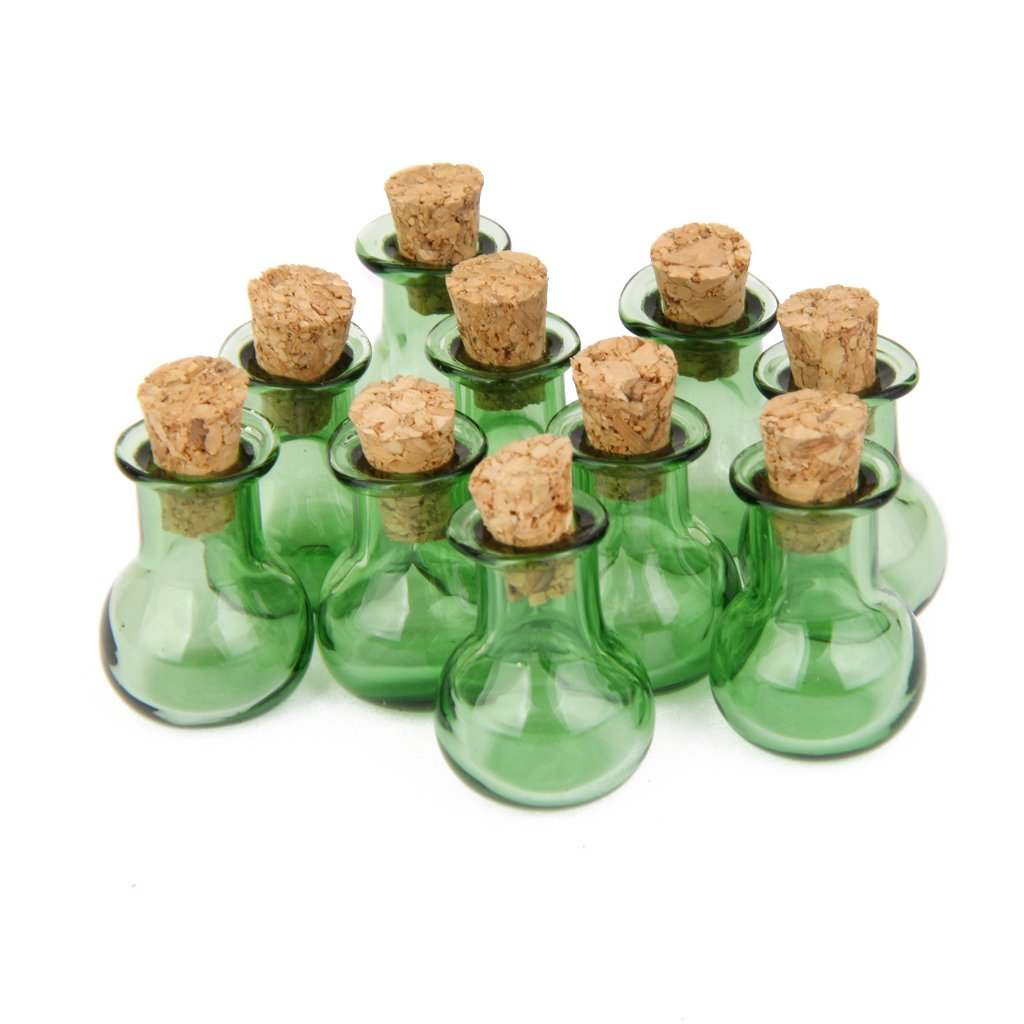 10PCS Glass Cork Bottles Flat Base Jars Vial Wishing Bottle DIY Pendants Green Generic STK0113012318