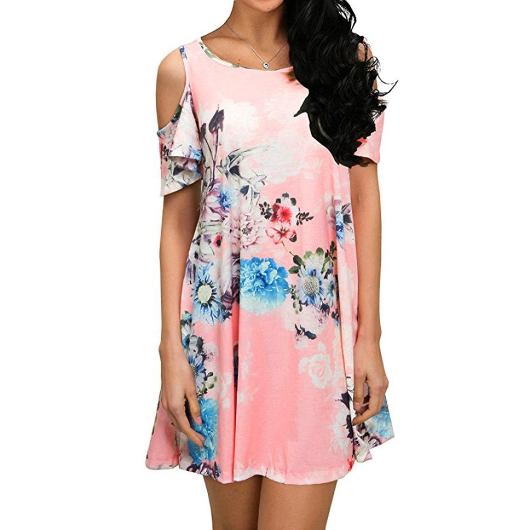 Rambling Women's Summer Cold Shoulder Tunic Top Swing Loose Dress Floral Printing Casual Swing T-Shirt Dresses