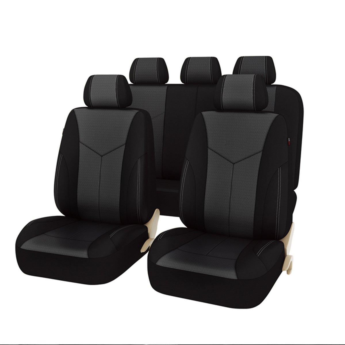 Car Pass汎用シートカバーセット ブラック zt-0011-4 B01M2UMJBL  ブラック