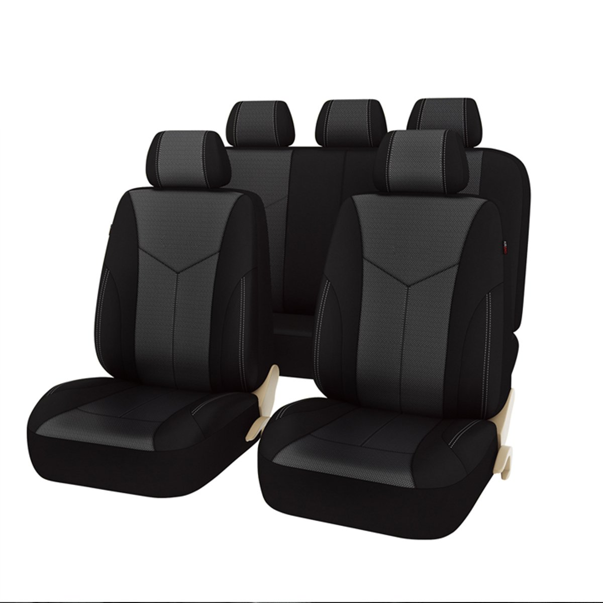 NEW ARRIVAL -Car Pass AIR FRESH Universal Seat Covers Set ,Airbag compatiable,Black with Black
