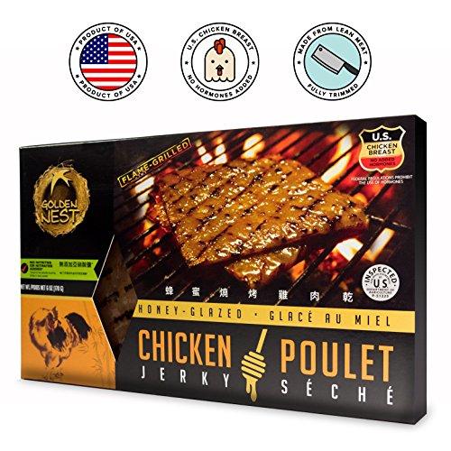 Golden Nest Chicken Jerky, Gluten Free, Healthy Homemade Style BBQ Meat From Gourmet USA Chicken, Award Winning Premium Jerky, 6 Ounces (Honey Glazed)