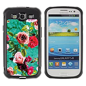 WAWU Funda Carcasa Bumper con Absorci??e Impactos y Anti-Ara??s Espalda Slim Rugged Armor -- roses old retro flowers furniture -- Samsung Galaxy S3 I9300