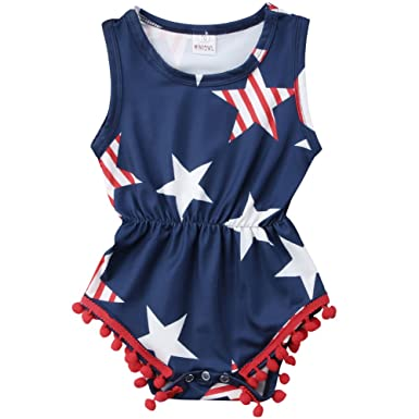 efc42782a Baby Girls 4th of July Outfits USA Flag Stars Tassel Ball Romper Jumpsuit  (Blue,
