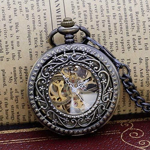 懐中時計、エレガントな絶妙な彫刻ダブルクレーンユニセックススケルトンメカニカル手巻きペンダントネックレス