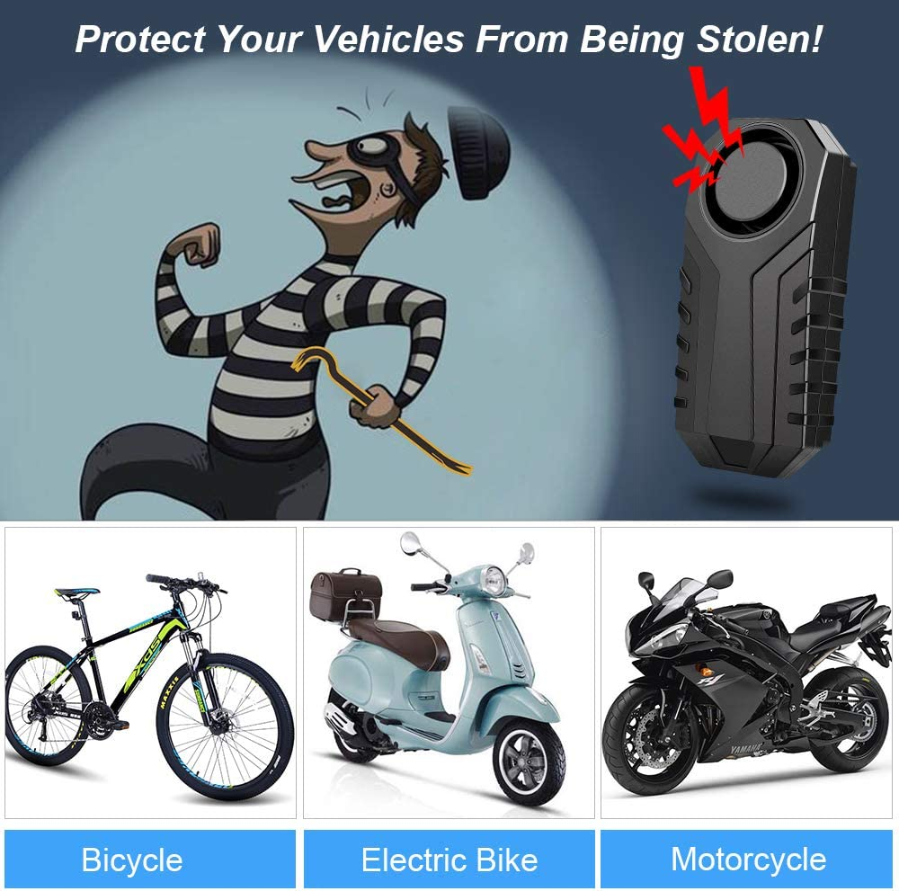 113dB Loud Onvian Upgraded Wireless Anti-Theft Motorcycle Bike Alarm Waterproof Bicycle Security Alarm Vibration Sensor with 2 Remotes