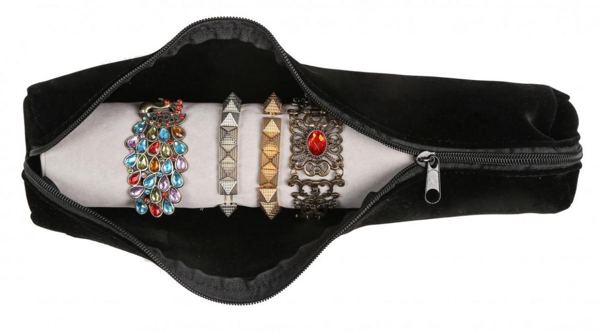 WODISON Velvet viaggio braccialetto della vigilanza Rullo organizzatore del sacchetto con il supporto rimovibile Cube RoyBella