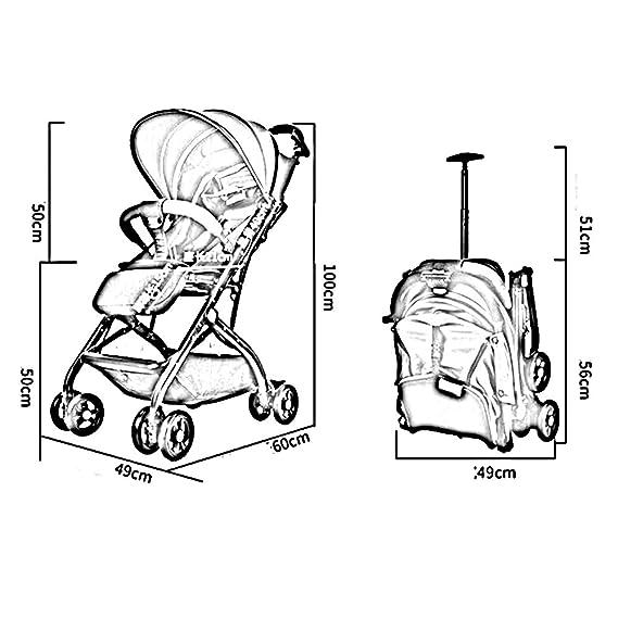 Juguetes Portátil Cochecito de bebé Puede Sentarse Plegables y reclinables Plegables Carpa Variable Instalación Gratuita Neumático del Amortiguador de ...