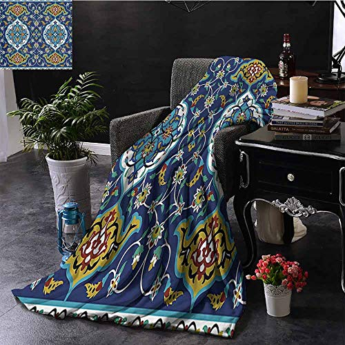 Authentic Matador Outfit (Elxmzwlob Reversible Blanket Moroccan All Season Use Authentic Oriental Motif with Vintage Byzantine Style Tile Effects Artwork (60