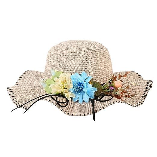 5f88ae72cdee2c Women's Flower Straw Hat Beach Sunscreen Panama Trilby Fedora Hat Fashion  Soft Cap (A) at Amazon Women's Clothing store: