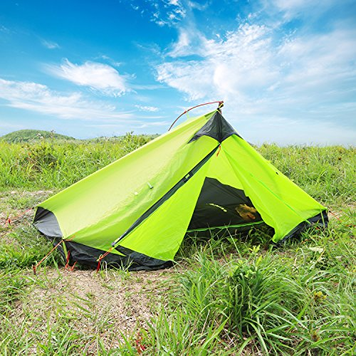 WolfWise Lightweight 2-Person 3-Season Camping Backpacking Tent Green