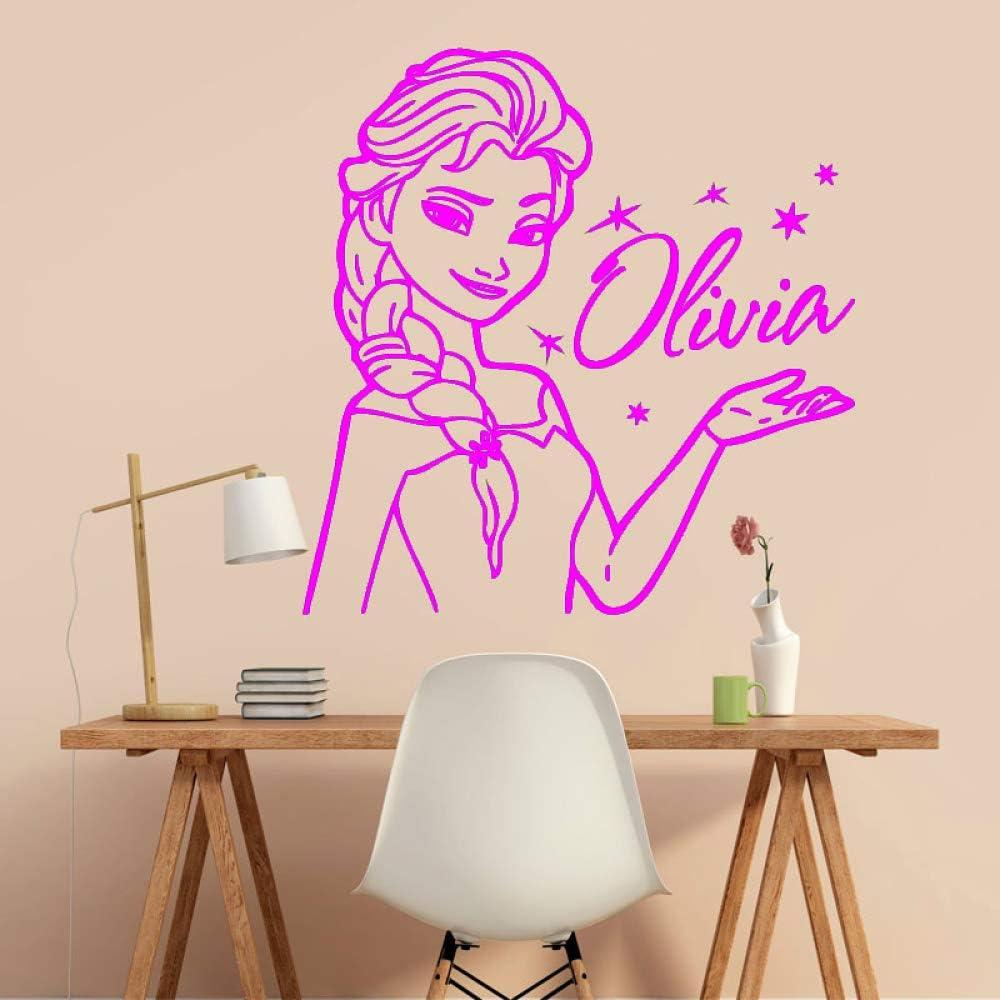 Princesse Elsa La Reine des Neiges Nom Personnalis/é Sticker Vinyle Autocollant D/écor P/épini/ère Enfants Fille Chambre Art D/écor Mignon de Bande Dessin/ée ww-1 42x43cm