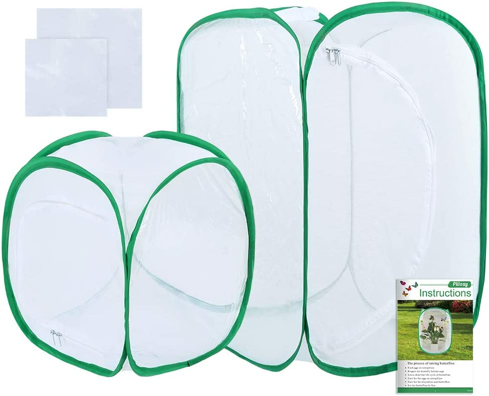Pllieay 2 Pieces 2 Sizes Butterfly Habitat Cage with an Instructions and Clear PVC Film, Collapsible Light-transmitting Terrarium White Insect and Butterfly Net for Kids Raising Insects