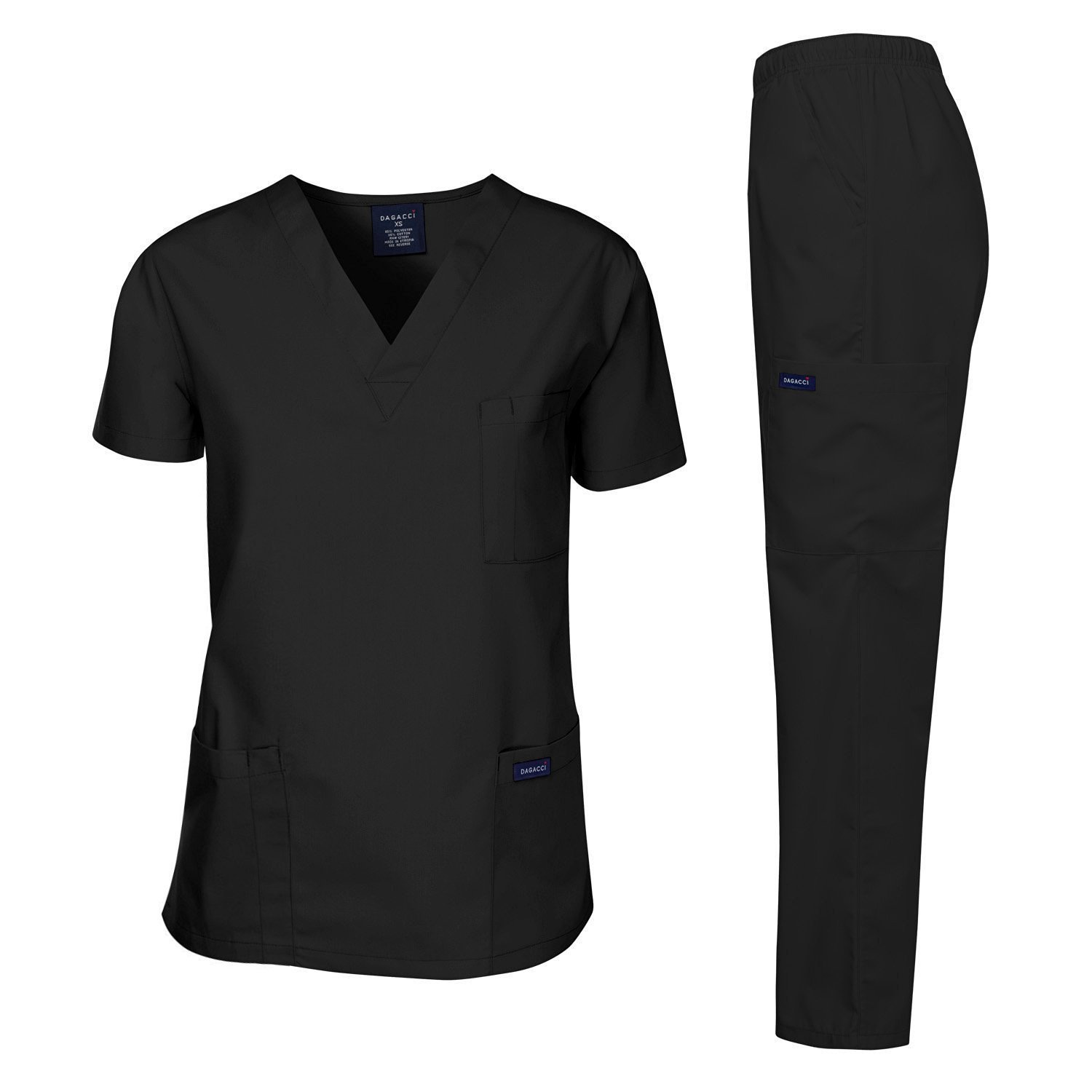 Dagacci Scrubs Medical Uniform Men Scrubs Set Medical Scrubs Top and Pants (Large, Black) by Dagacci Medical Uniform