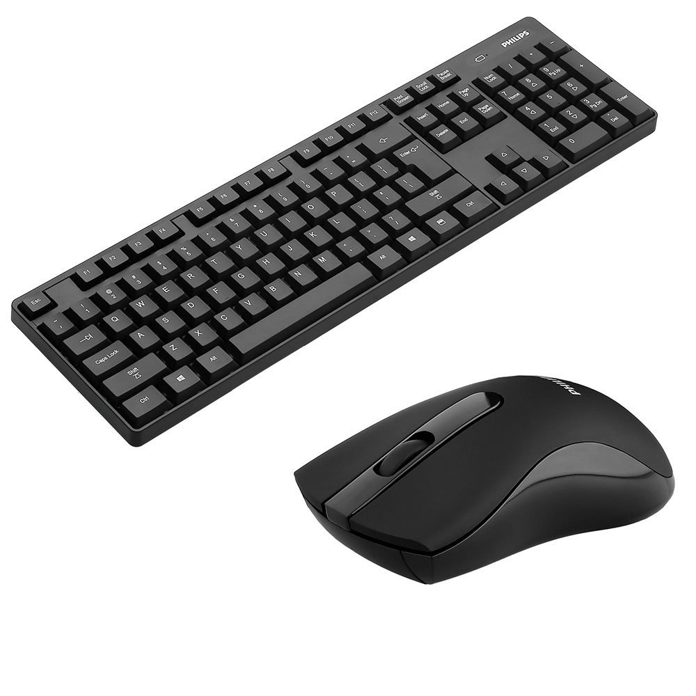 Philips Wireless Keyboard and Mouse Combo, Ultra-Thin Ergonomic Keyboard and Mute Mouse, 2.4GHz 32ft Wireless Connection with USB Receiver for PC Desktop Computer Laptop Mac Tablet (6501B)