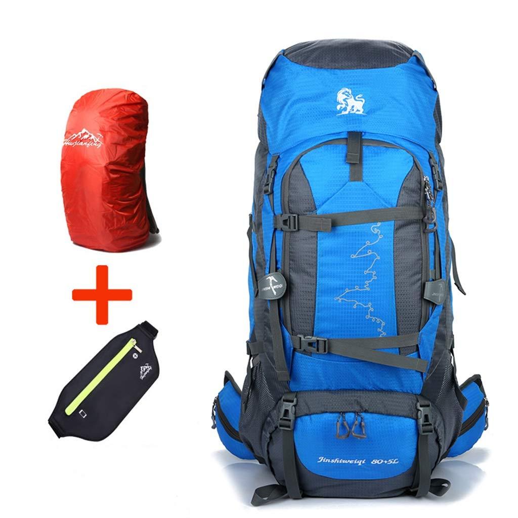 ココ85Lインナーフレームハイキングバックパック着脱式ショルダーストラップ防水アウトドアスポーツバックパック、キャンプ用スキー、フリーレインカバー、ウエストバッグ (色 : 青)   B07QGCLV6N