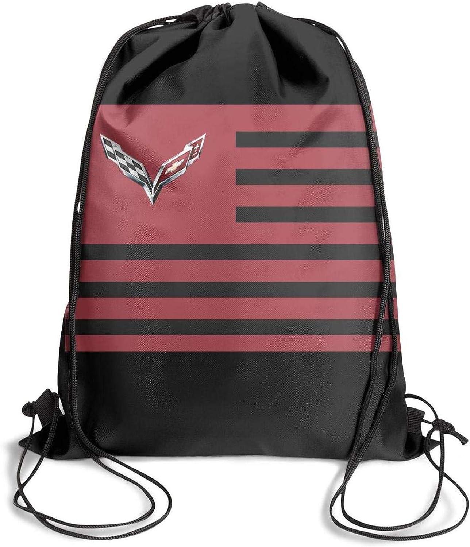 DHNKW Fashion Extreme Sports Motto Corvette Racing Drawstring Backpack Bag