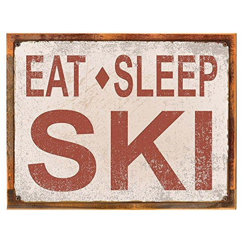 Wood-Framed Eat Sleep Ski Metal Sign, Sport, Cabin, Lodge, Mountain on reclaimed, rustic wood Sports Metal Signs