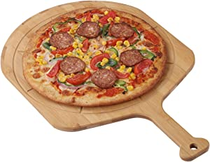Fiery Chef Bamboo Pizza Peel - Pizza Paddle for Homemade Pizza and Bread Baking, Pizza Cutting Board with 8 Grooves, 19.7 Inch x 12.6 Inch