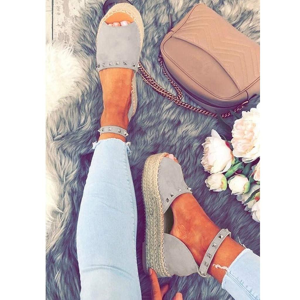 SFE Womens Ladies Rivet Flat Playform Buckle Woven Thick-Bottom Sandals Roman Shoes Casual Sandals for Women