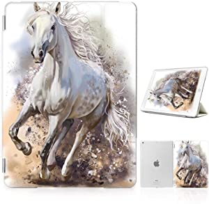 for iPad 5 5th Generaton, iPad 6 6th Generation, iPad 9.7 inch 2017 2018 Version, Designed Smart Case Cover, SMART40140 White Horse 40140