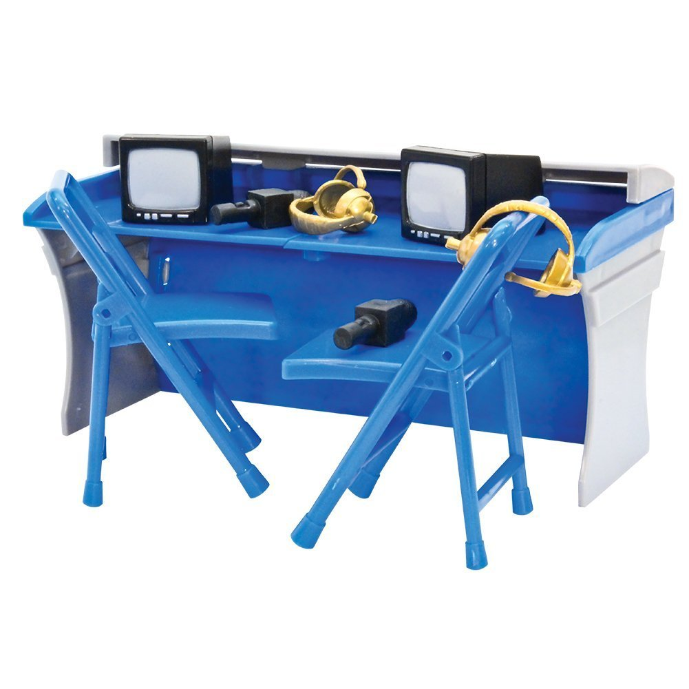 Blue and Gray Commentator Table Playset for WWE Wrestling Action Figures Figures Toy Company