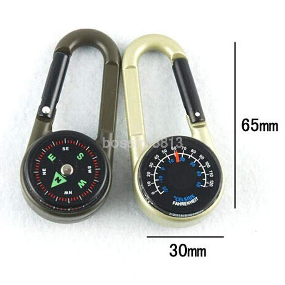 BloomGrün Co. Mini 3-in-1 Karabiner Schlüsselring Kompass und Thermometer für Wandern Reisen