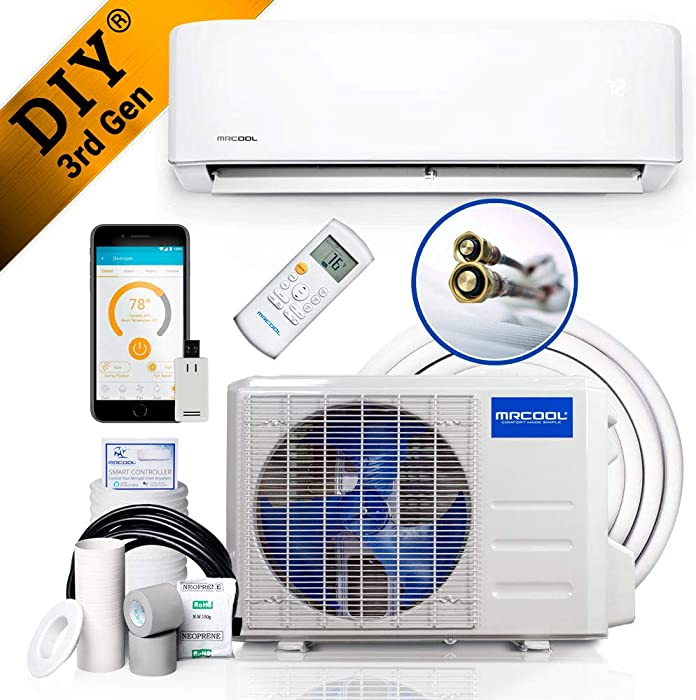 MrCool DIY 12k BTU 22 SEER Ductless Heat Pump Split System 3rd Generation - Energy Star 120V with Line Set Cover & IR WiFi Thermostat